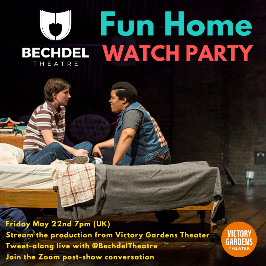 A photo of 2 teenagers on stage. They're sitting on a bed looking eagerly at each other. They both have short hair. The person on the left is white with a stripy t-shirt, the person on the right is black with a denim waistcoat.  The image is overlaid with Bechdel Theatre's Logo and Fun Home WATCH PARTY, plus some further details, all as listed below.