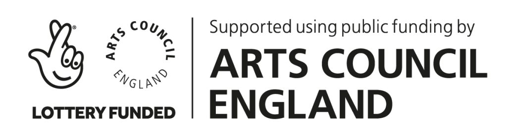 "Arts Council England Lottery Funded Logo ""Supported using public funding by Arts Council England"""